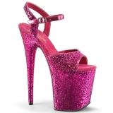 Rosa 20 cm FLAMINGO-810LG scintillare plateau sandali donna con tacco