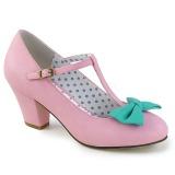 Rosa 6,5 cm WIGGLE-50 Pinup scarpe décolleté con tacco spesso