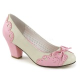 Rosa 6,5 cm retro vintage WIGGLE-17 Pinup scarpe décolleté con tacco spesso