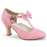Rosa 7,5 cm retro vintage FLAPPER-11 Pinup scarpe décolleté con tacchi bassi