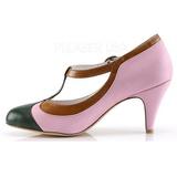 Rosa 8 cm retro vintage PEACH-03 Pinup scarpe décolleté con tacchi bassi