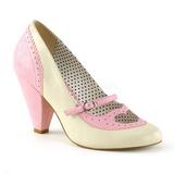 Rosa 9,5 cm retro vintage POPPY-18 Pinup scarpe décolleté con tacchi bassi