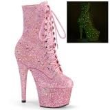 Rosa glitter 18 cm ADORE-1020GDLG stivaletti alti con lacci da pole dance