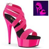 Rosa neon 15 cm DELIGHT-669UV scarpe con tacchi da pole dance