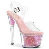 Rosa trasparente 18 cm SKY-308CF scarpe exotic pole