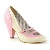 Rose 9,5 cm retro vintage POPPY-18 Pinup Pumps Shoes with Low Heels