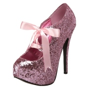 Rose Glitter 14,5 cm TEEZE-10G Concealed burlesque pumps stiletto
