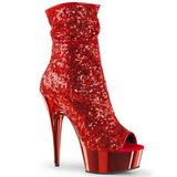 Rosso 15 cm DELIGHT-1008SQ stivaletti con lustrini donna