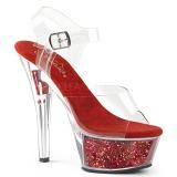 Rosso 15 cm KISS-208GF scintillare plateau sandali donna con tacco