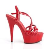 Rosso 15 cm Pleaser DELIGHT-613 Sandali Donna con Tacco