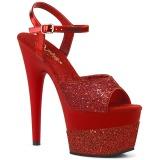 Rosso 18 cm ADORE-709-2G scintillare plateau sandali donna con tacco