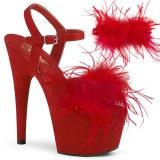 Rosso 18 cm ADORE-709F sandalo tacco alto con piume exotic pole