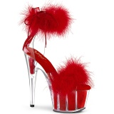 Rosso 18 cm ADORE-724F sandalo tacco alto con piume exotic pole