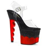 Rosso 18 cm SCALLOP-708-2HGM Ologramma plateau sandali donna con tacco