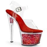 Rosso 18 cm SKY-308GF scintillare plateau sandali donna con tacco