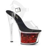 Rosso 18 cm SKY-308WHG scintillare plateau sandali donna con tacco