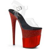Rosso 20 cm FLAMINGO-808-2HGM scintillare plateau sandali donna con tacco