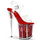 Rosso 20 cm FLAMINGO-808GF sandali da cubista e spogliarellista scintillare