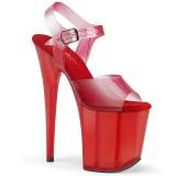 Rosso 20 cm FLAMINGO-808N-T sandali pleaser con plateau