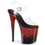 Rosso 20 cm FLAMINGO-808SS scintillare plateau sandali donna con tacco