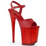 Rosso 20 cm FLAMINGO-809T sandali da cubista e spogliarellista acrilico