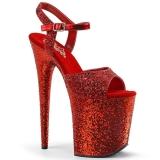 Rosso 20 cm FLAMINGO-810LG scintillare plateau sandali donna con tacco