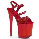 Rosso 20 cm FLAMINGO-874 scintillare plateau sandali donna con tacco