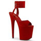 Rosso 20 cm FLAMINGO-891 scamosciato plateau sandali donna con tacco