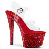 Rosso 20 cm SKY-308LG scintillare plateau sandali donna con tacco