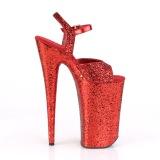 Rosso 25,5 cm BEYOND-010LG scintillare plateau sandali donna con tacco