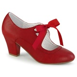 Rosso 6,5 cm WIGGLE-32 retro vintage scarpe décolleté maryjane tacco spesso