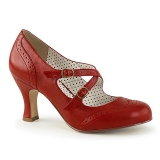 Rosso 7,5 cm retro vintage FLAPPER-35 Pinup scarpe décolleté con tacchi bassi
