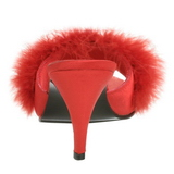 Rosso 8 cm AMOUR-03 piume di marabu Mules Scarpe