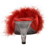 Rosso 8 cm BELLE-301F piume di marabu Mules Scarpe