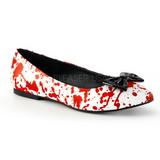 Rosso Bianco VAIL-20BL scarpe gotico ballerine tacco basse