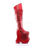 Rosso Brillare 22 cm FABULOUS-3035 Overknee Stivali da Drag Queen