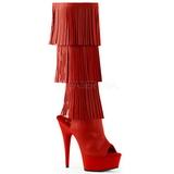 Rosso Ecopelle 15 cm DELIGHT-2019-3 stivali con frange donna tacco altissime