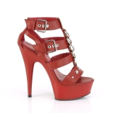 Rosso Ecopelle 15 cm DELIGHT-658 scarpe pleaser con plateau e tacco alto
