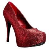 Rosso Glitter 14,5 cm TEEZE-06GW scarpe décolleté per piedi larghi da uomo