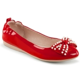 Rosso IVY-09 ballerine scarpe basse donna con perle
