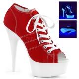 Rosso Neon 15 cm DELIGHT-600SK-01 Scarpe da ginnastica con tacco in tela