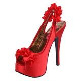 Rosso Raso 14,5 cm Burlesque TEEZE-56 Plateau Sandali Tacco Altissimo