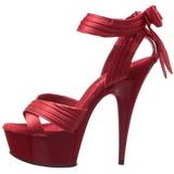 Rosso Raso 15 cm DELIGHT-668 Sandali da Sera con Tacco Alto