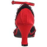 Rosso Raso 8 cm RETRO-03 Scarpe Décolleté Tacco Basso