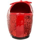 Rosso STAR-16G scintillare scarpe ballerine donna basse