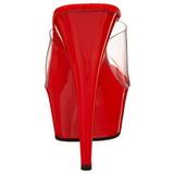 Rosso Trasparente 15,5 cm DELIGHT-601 Plateau Mules Alte