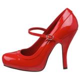 Rosso Vernice 12 cm PRETTY-50 Scarpe Décolleté Tacco Basso