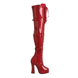 Rosso Vernice 13 cm ELECTRA-3028 Stivali alti e sopra al ginocchio