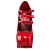 Rosso Vernice 14,5 cm TEEZE-05 Scarpe da donna con tacco altissime