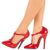 Rosso Vernice 15 cm DOMINA-415 Scarpe Décolleté Tacco Basso